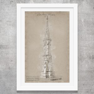 vintage style art print of banbury cross