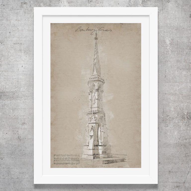 vintage style art print of banbury cross