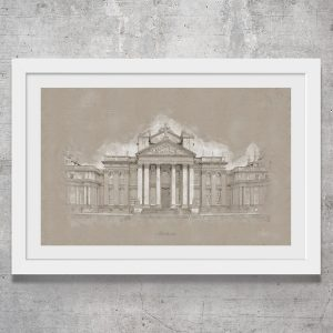 Vintage style art print of Blenheim Palace