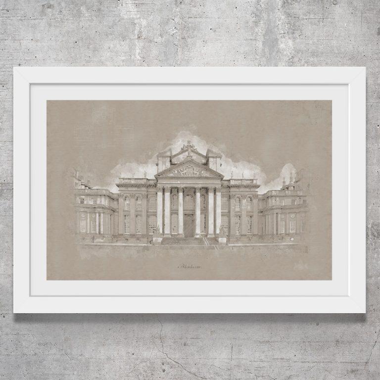 Vintage style art print of Blenheim Palace