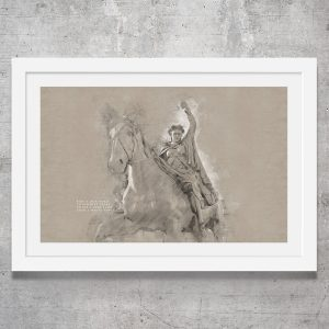 Vintage style art print of the Fine Lady statue in Banbury