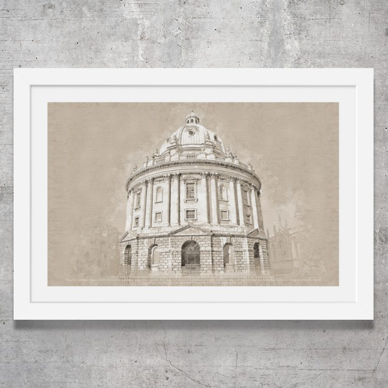 Vintage style art print of the Radcliffe Camera in Oxford